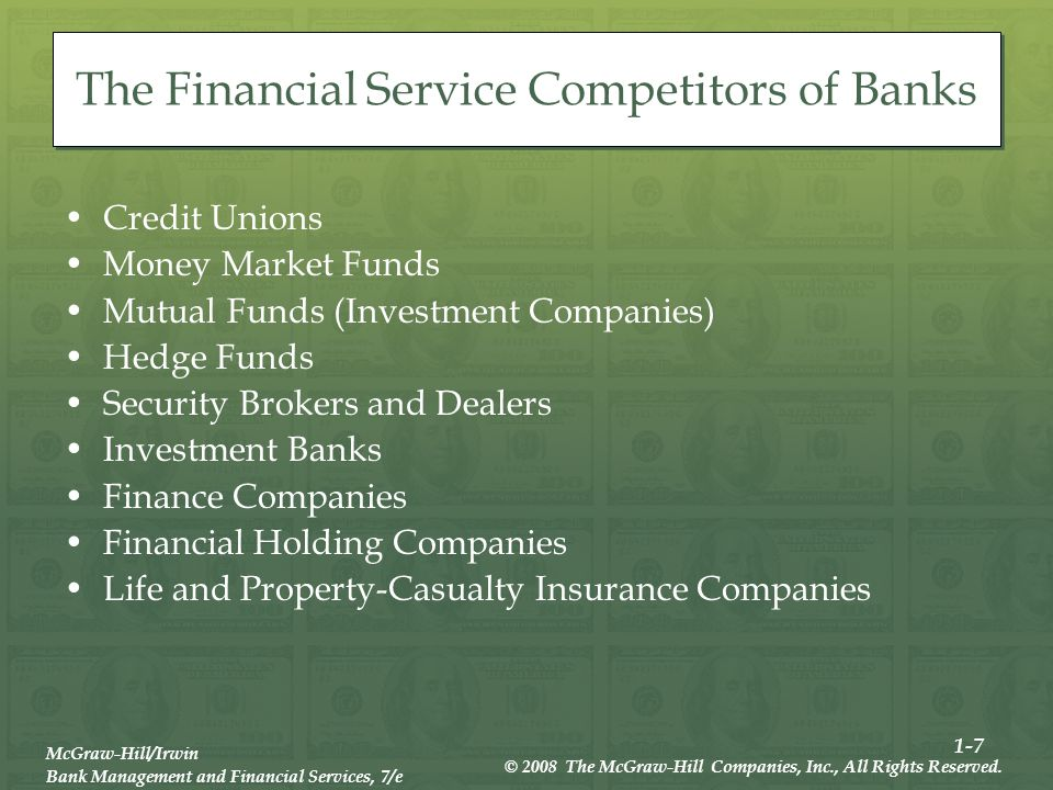 1-7 McGraw-Hill/Irwin Bank Management and Financial Services, 7/e © 2008 The McGraw-Hill Companies, Inc., All Rights Reserved.