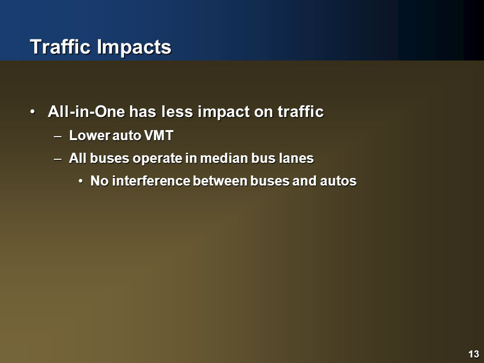 13 Traffic Impacts All-in-One has less impact on trafficAll-in-One has less impact on traffic –Lower auto VMT –All buses operate in median bus lanes No interference between buses and autosNo interference between buses and autos 13