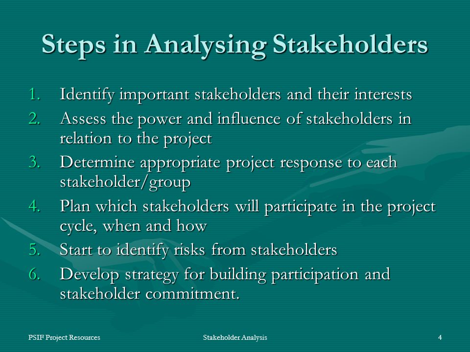 PSIF Project ResourcesStakeholder Analysis4 Steps in Analysing Stakeholders 1.Identify important stakeholders and their interests 2.Assess the power and influence of stakeholders in relation to the project 3.Determine appropriate project response to each stakeholder/group 4.Plan which stakeholders will participate in the project cycle, when and how 5.Start to identify risks from stakeholders 6.Develop strategy for building participation and stakeholder commitment.