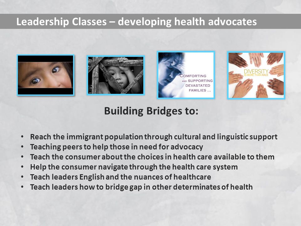 Building Bridges to: Reach the immigrant population through cultural and linguistic support Teaching peers to help those in need for advocacy Teach the consumer about the choices in health care available to them Help the consumer navigate through the health care system Teach leaders English and the nuances of healthcare Teach leaders how to bridge gap in other determinates of health Leadership Classes – developing health advocates