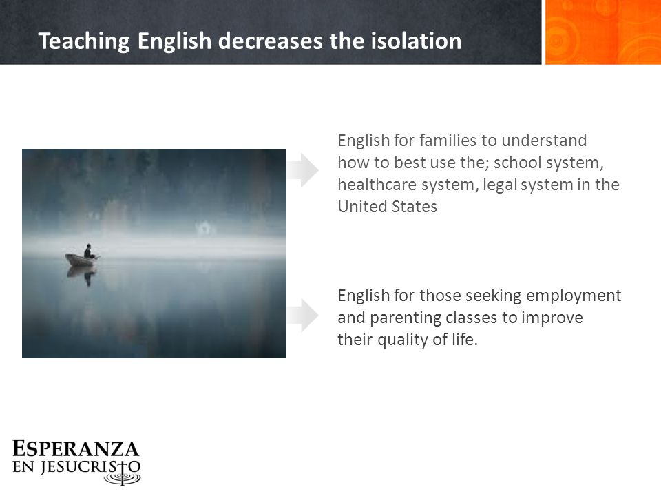 English for families to understand how to best use the; school system, healthcare system, legal system in the United States English for those seeking employment and parenting classes to improve their quality of life.