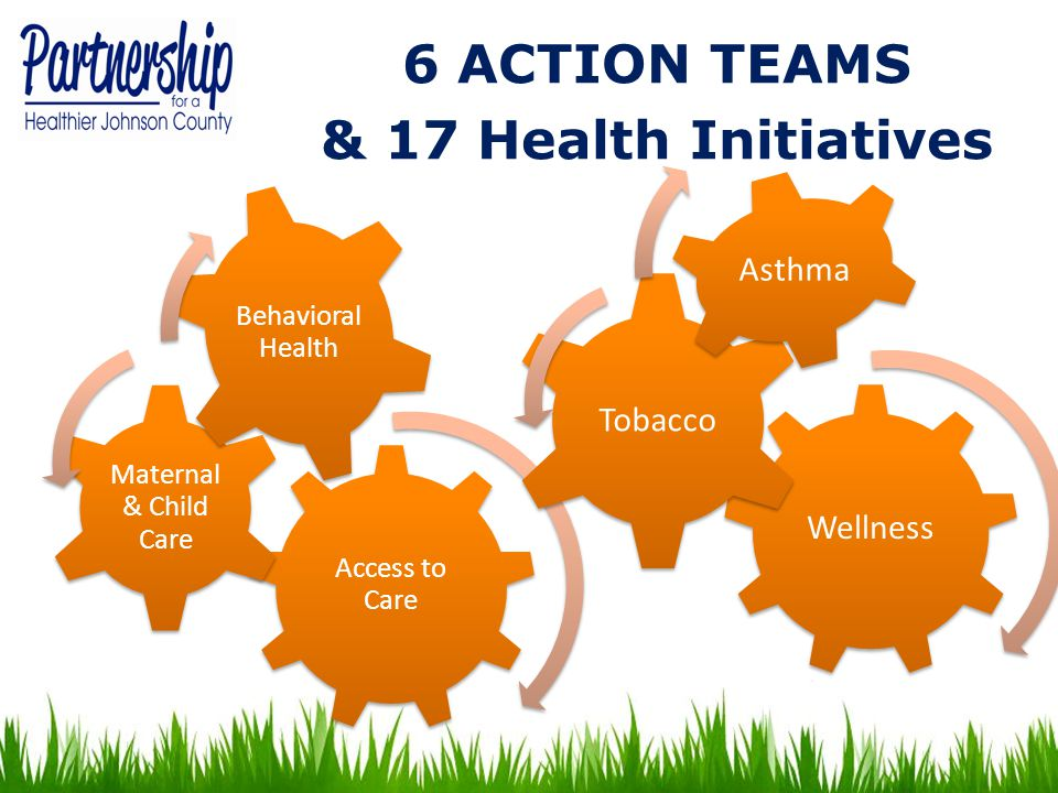 6 ACTION TEAMS & 17 Health Initiatives Access to Care Maternal & Child Care Behavioral Health Wellness Tobacco Asthma