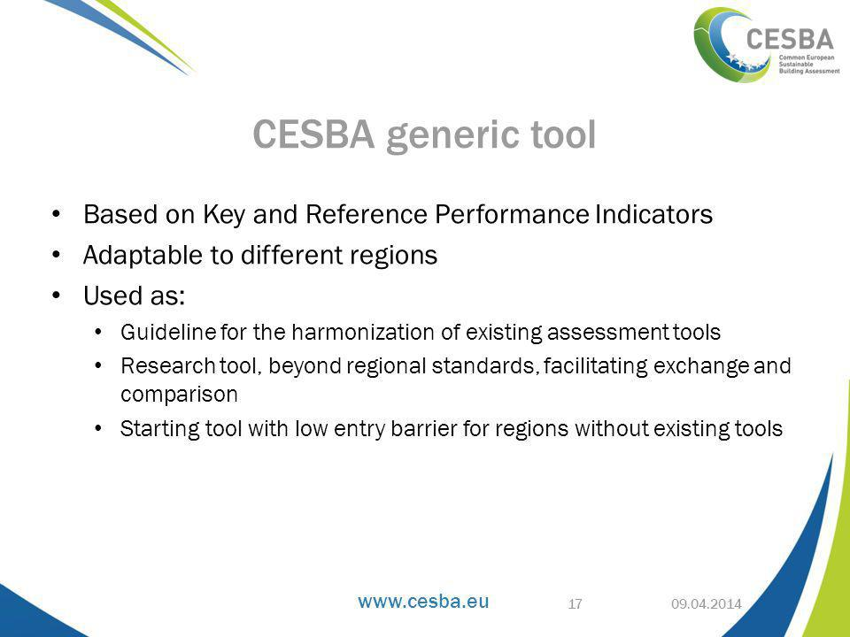 Based on Key and Reference Performance Indicators Adaptable to different regions Used as: Guideline for the harmonization of existing assessment tools Research tool, beyond regional standards, facilitating exchange and comparison Starting tool with low entry barrier for regions without existing tools CESBA generic tool 17