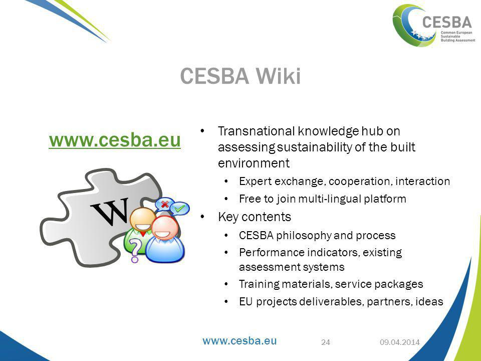 Transnational knowledge hub on assessing sustainability of the built environment Expert exchange, cooperation, interaction Free to join multi-lingual platform Key contents CESBA philosophy and process Performance indicators, existing assessment systems Training materials, service packages EU projects deliverables, partners, ideas CESBA Wiki   24