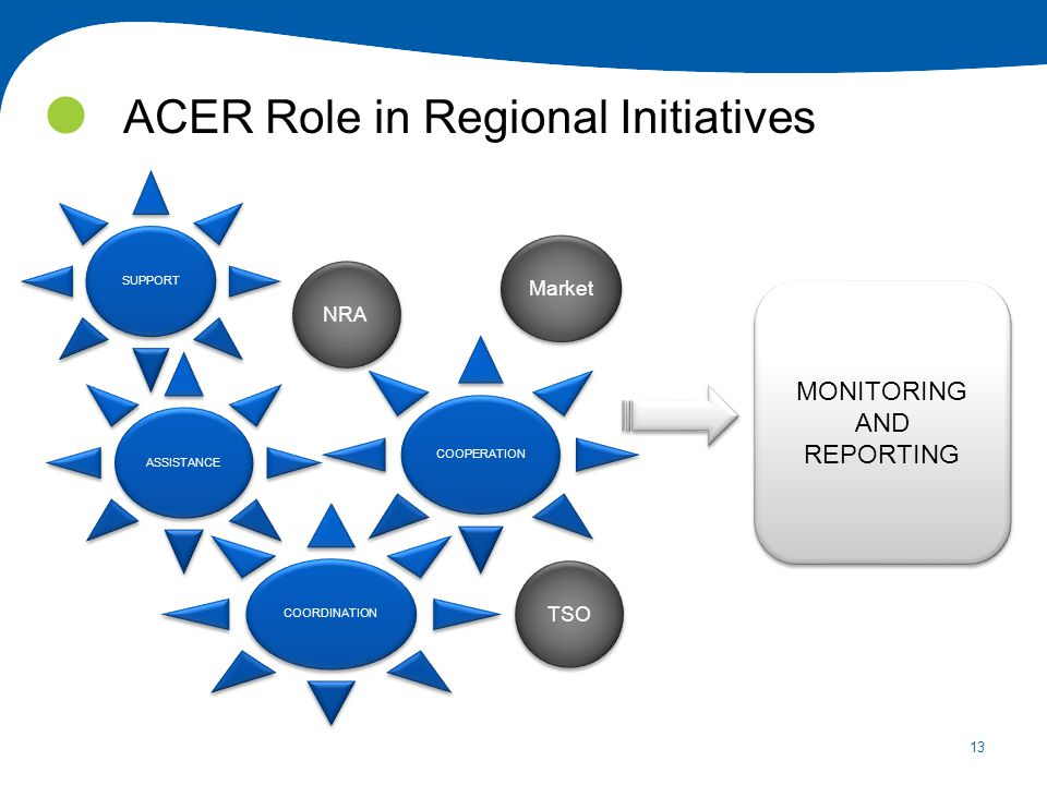 13 ACER Role in Regional Initiatives SUPPORT ASSISTANCE COORDINATION COOPERATION MONITORING AND REPORTING MONITORING AND REPORTING NRA Market TSO