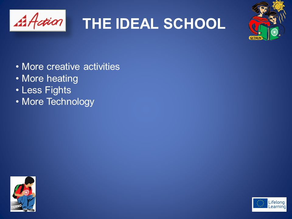 THE IDEAL SCHOOL More creative activities More heating Less Fights More Technology