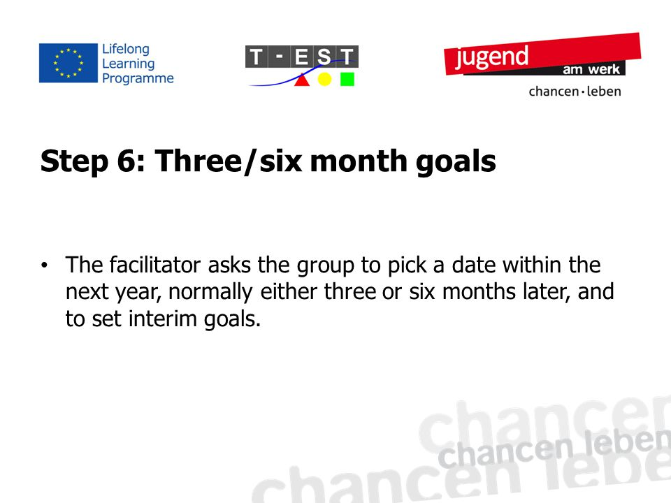 Step 6: Three/six month goals The facilitator asks the group to pick a date within the next year, normally either three or six months later, and to set interim goals.