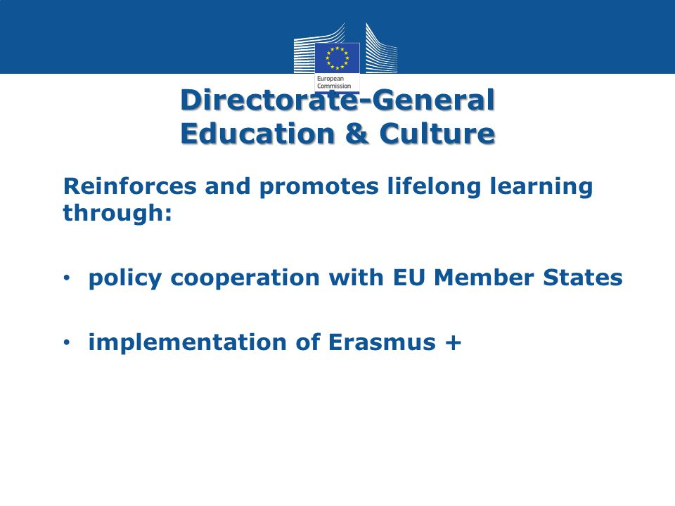 Directorate-General Education & Culture Reinforces and promotes lifelong learning through: policy cooperation with EU Member States implementation of Erasmus +