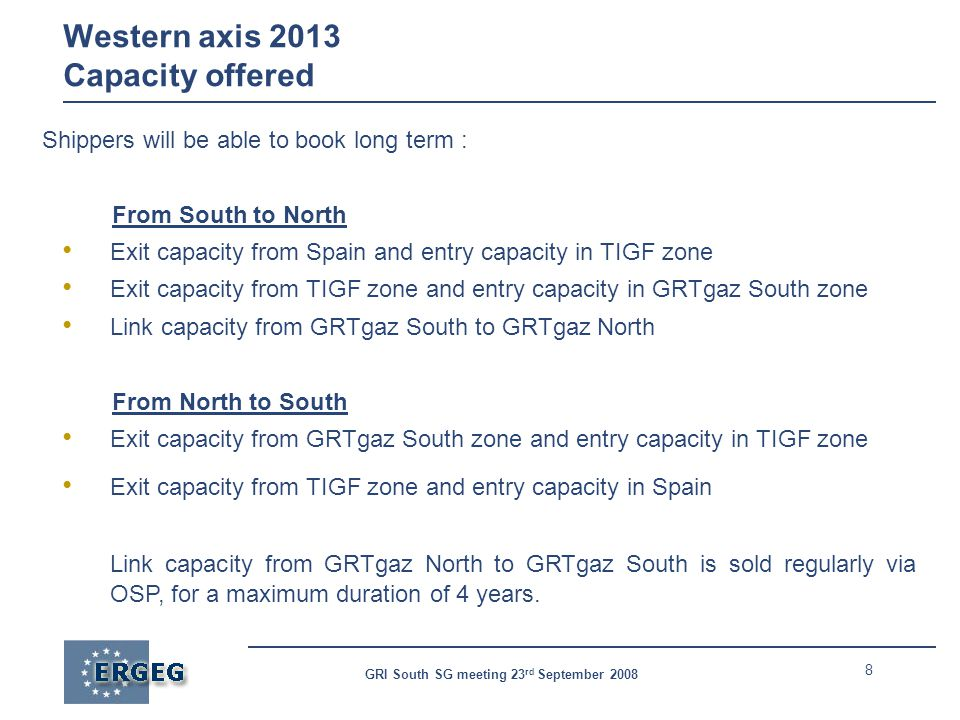 8 GRI South SG meeting 23 rd September 2008 Western axis 2013 Capacity offered Shippers will be able to book long term : From South to North Exit capacity from Spain and entry capacity in TIGF zone Exit capacity from TIGF zone and entry capacity in GRTgaz South zone Link capacity from GRTgaz South to GRTgaz North From North to South Exit capacity from GRTgaz South zone and entry capacity in TIGF zone Exit capacity from TIGF zone and entry capacity in Spain Link capacity from GRTgaz North to GRTgaz South is sold regularly via OSP, for a maximum duration of 4 years.
