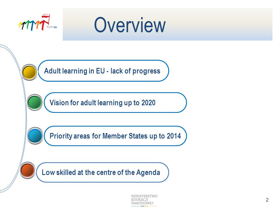 Low skilled at the centre of the Agenda Adult learning in EU - lack of progress 2 Vision for adult learning up to 2020 Overview Priority areas for Member States up to 2014