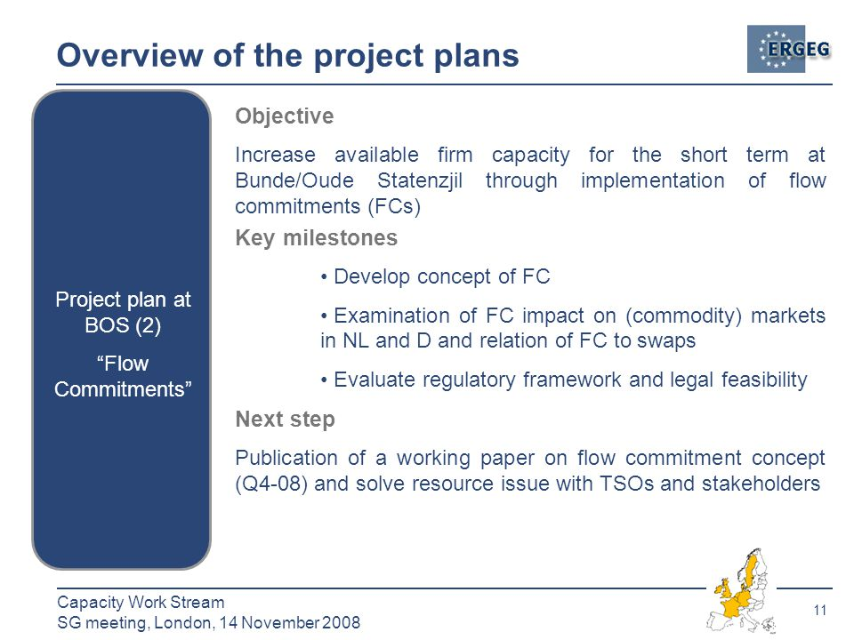 11 Capacity Work Stream SG meeting, London, 14 November 2008 Overview of the project plans Project plan at BOS (2) Flow Commitments Objective Increase available firm capacity for the short term at Bunde/Oude Statenzjil through implementation of flow commitments (FCs) Key milestones Develop concept of FC Examination of FC impact on (commodity) markets in NL and D and relation of FC to swaps Evaluate regulatory framework and legal feasibility Next step Publication of a working paper on flow commitment concept (Q4-08) and solve resource issue with TSOs and stakeholders