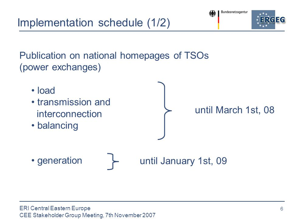 6 ERI Central Eastern Europe CEE Stakeholder Group Meeting, 7th November 2007 Implementation schedule (1/2) Publication on national homepages of TSOs (power exchanges) load transmission and interconnection balancing generation until March 1st, 08 until January 1st, 09