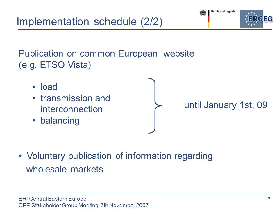 7 ERI Central Eastern Europe CEE Stakeholder Group Meeting, 7th November 2007 Implementation schedule (2/2) Publication on common European website (e.g.