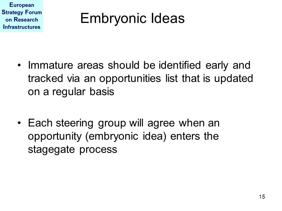 15 Embryonic Ideas Immature areas should be identified early and tracked via an opportunities list that is updated on a regular basis Each steering group will agree when an opportunity (embryonic idea) enters the stagegate process