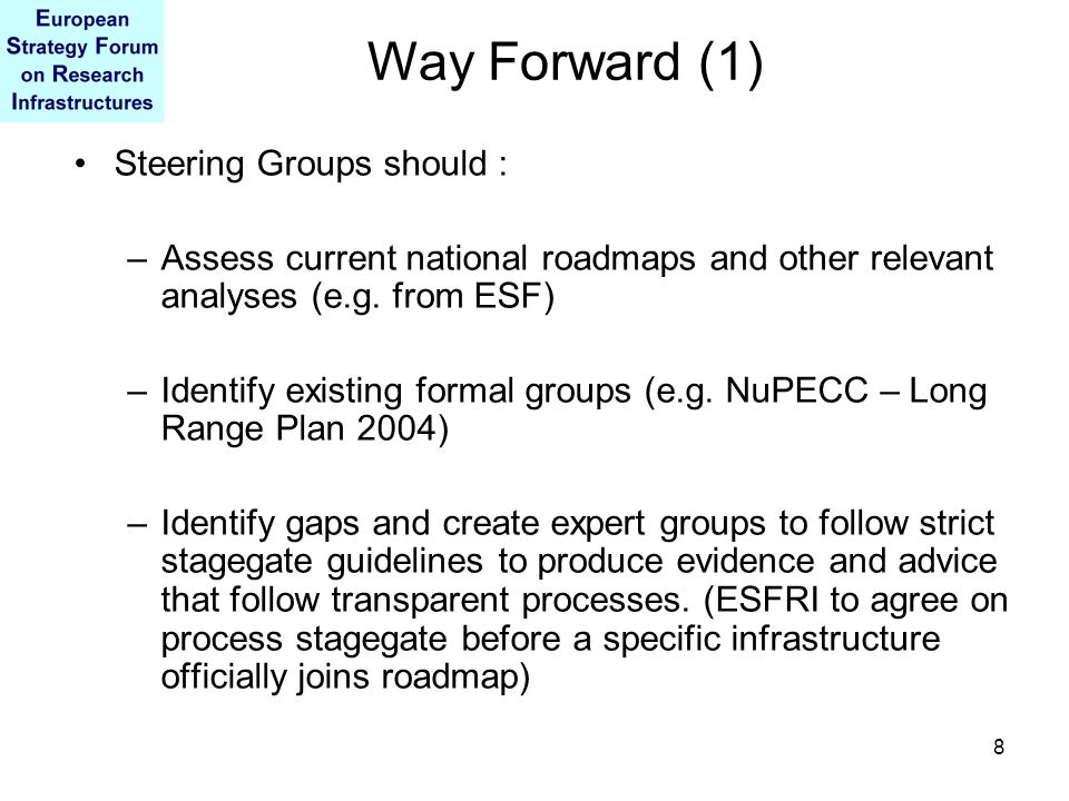 8 Steering Groups should : –Assess current national roadmaps and other relevant analyses (e.g.