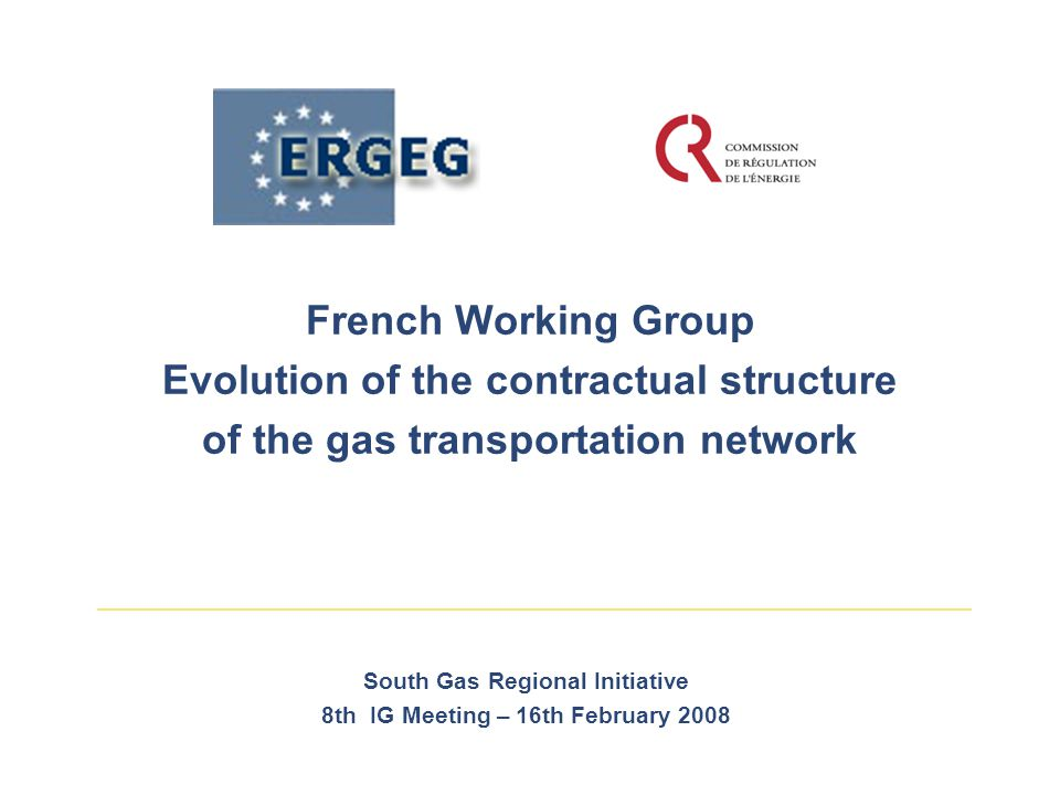 French Working Group Evolution of the contractual structure of the gas transportation network South Gas Regional Initiative 8th IG Meeting – 16th February 2008