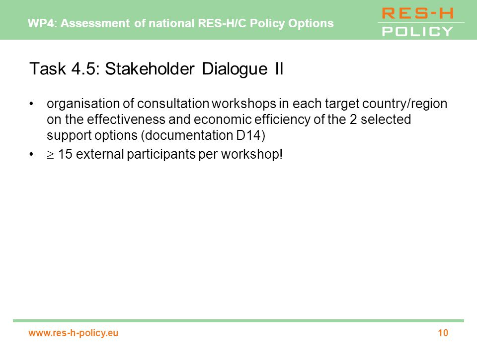WP4: Assessment of national RES-H/C Policy Options   Task 4.5: Stakeholder Dialogue II organisation of consultation workshops in each target country/region on the effectiveness and economic efficiency of the 2 selected support options (documentation D14)  15 external participants per workshop!