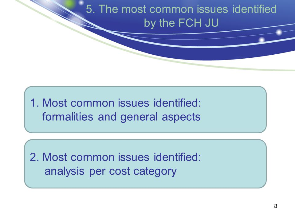 8 5. The most common issues identified by the FCH JU 1.
