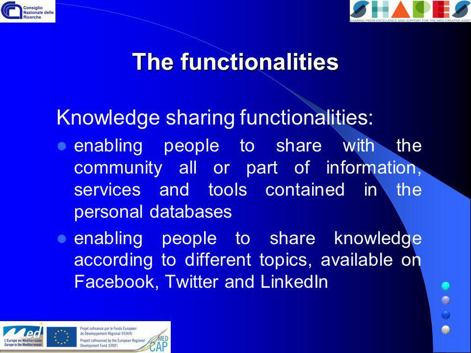The functionalities Knowledge sharing functionalities: enabling people to share with the community all or part of information, services and tools contained in the personal databases enabling people to share knowledge according to different topics, available on Facebook, Twitter and LinkedIn
