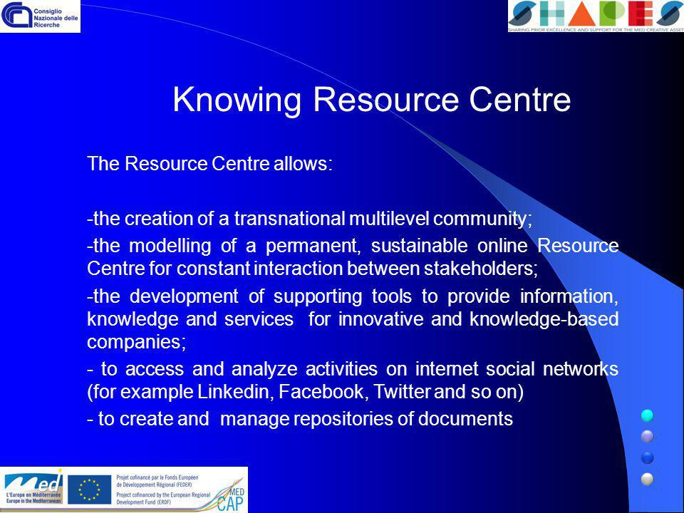 The Resource Centre allows: -the creation of a transnational multilevel community; -the modelling of a permanent, sustainable online Resource Centre for constant interaction between stakeholders; -the development of supporting tools to provide information, knowledge and services for innovative and knowledge-based companies; - to access and analyze activities on internet social networks (for example Linkedin, Facebook, Twitter and so on) - to create and manage repositories of documents Knowing Resource Centre
