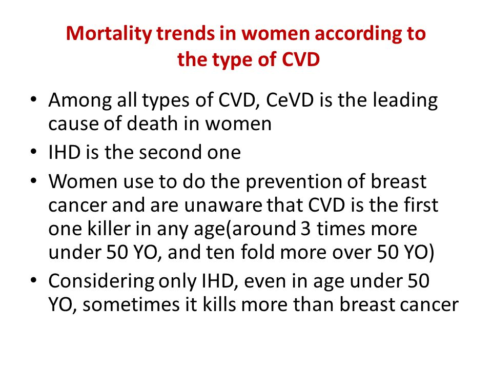 Mortality trends in women according to the type of CVD Among all types of CVD, CeVD is the leading cause of death in women IHD is the second one Women use to do the prevention of breast cancer and are unaware that CVD is the first one killer in any age(around 3 times more under 50 YO, and ten fold more over 50 YO) Considering only IHD, even in age under 50 YO, sometimes it kills more than breast cancer