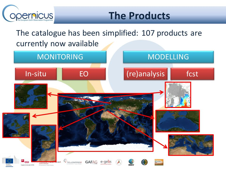 The Products MONITORING MODELLING In-situ EO (re)analysis fcst The catalogue has been simplified: 107 products are currently now available
