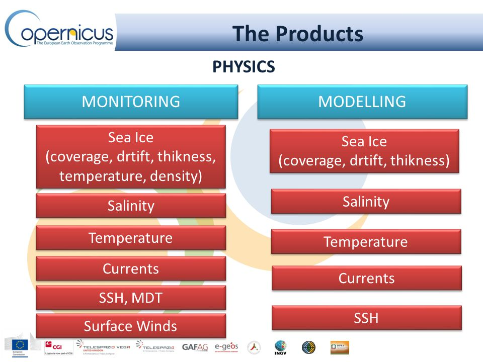 The Products MODELLING Currents Temperature Salinity Sea Ice (coverage, drtift, thikness) Sea Ice (coverage, drtift, thikness) MONITORING Sea Ice (coverage, drtift, thikness, temperature, density) Sea Ice (coverage, drtift, thikness, temperature, density) Temperature Salinity Currents SSH, MDT SSH Surface Winds PHYSICS