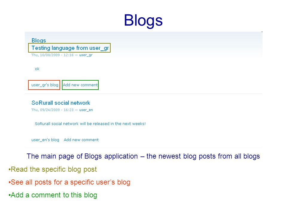 Blogs The main page of Blogs application – the newest blog posts from all blogs Read the specific blog post See all posts for a specific user's blog Add a comment to this blog