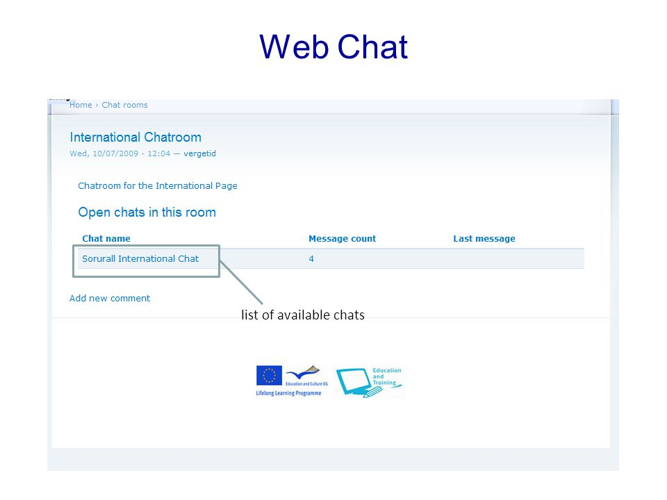 Web Chat list of available chats