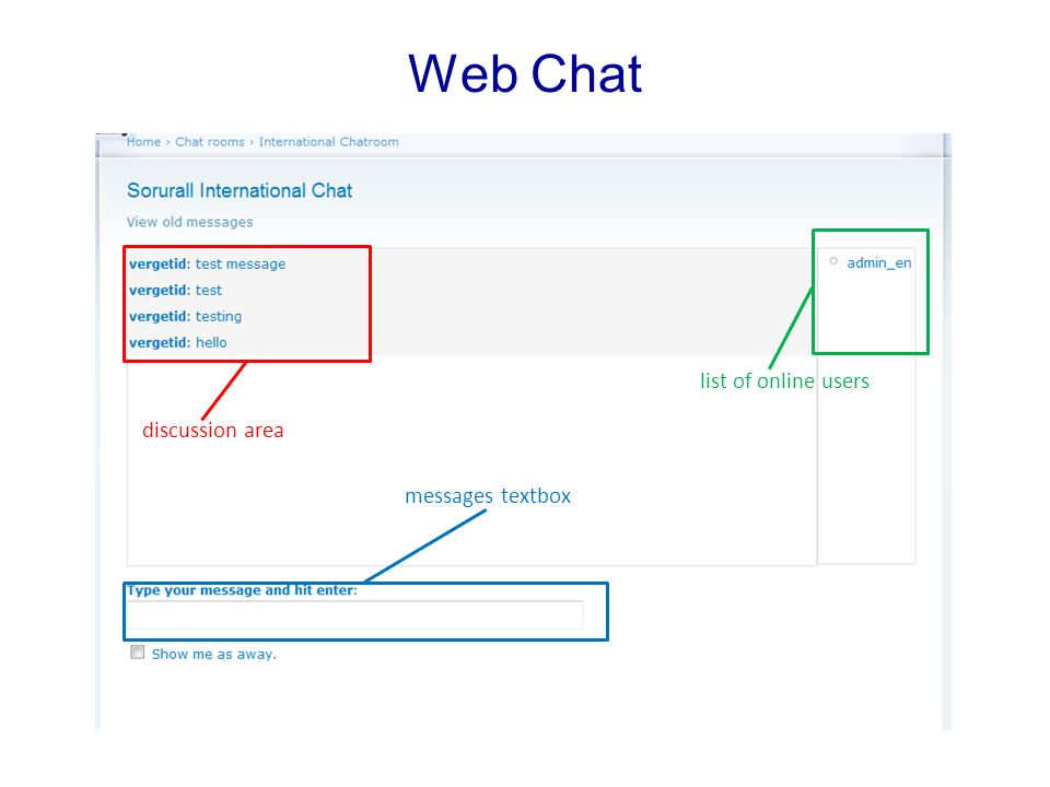 Web Chat list of online users discussion area messages textbox