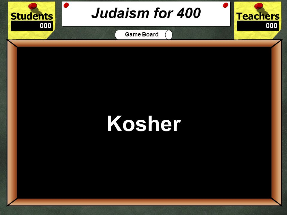 StudentsTeachers Game Board The Holy Book of the Jewish faith is called a __________.