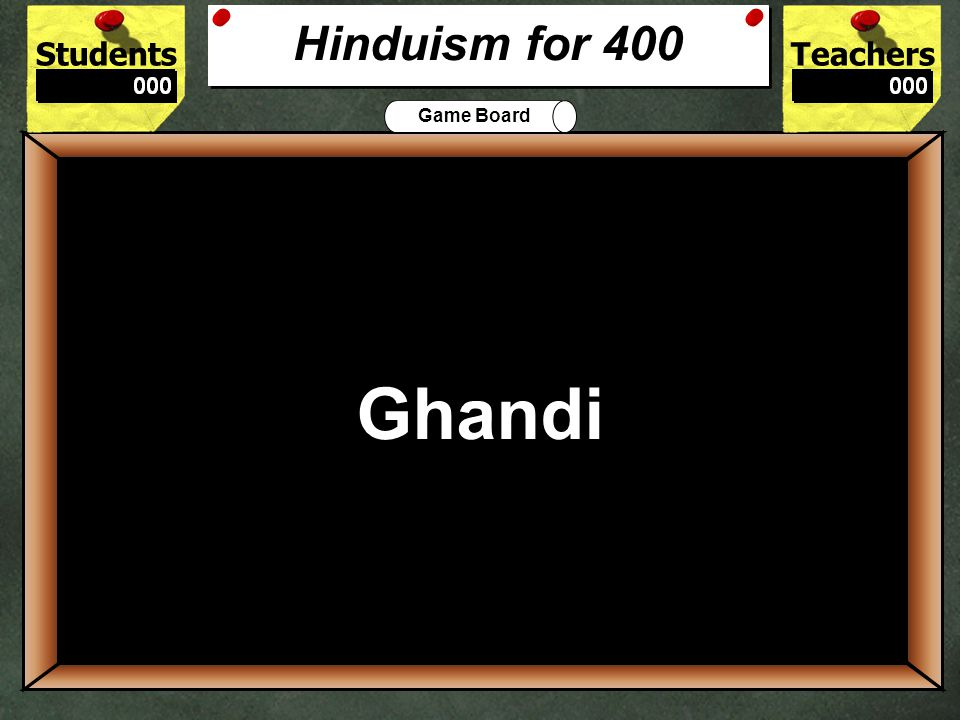 StudentsTeachers Game Board Hindu practice requires a bindi or a _____ _______ to be painted on a forehead.