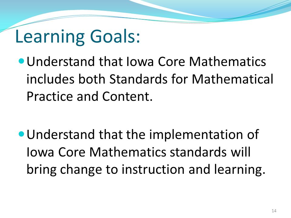 Learning Goals: Understand that Iowa Core Mathematics includes both Standards for Mathematical Practice and Content.