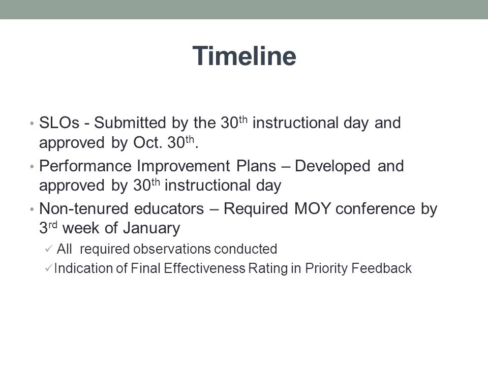 Timeline SLOs - Submitted by the 30 th instructional day and approved by Oct.