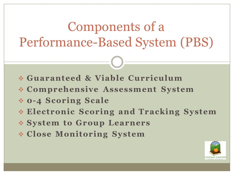  Guaranteed & Viable Curriculum  Comprehensive Assessment System  0-4 Scoring Scale  Electronic Scoring and Tracking System  System to Group Learners  Close Monitoring System Components of a Performance-Based System (PBS)