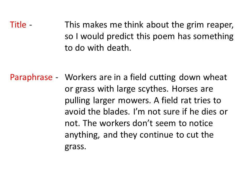 reapers poem analysis
