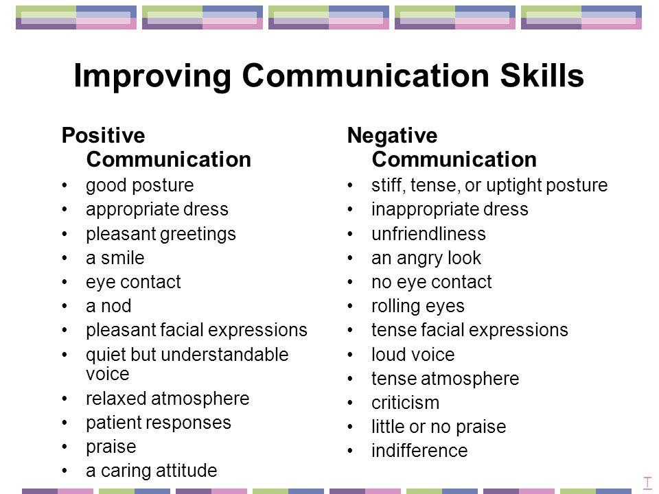 Improving Communication Skills T Positive Communication Good