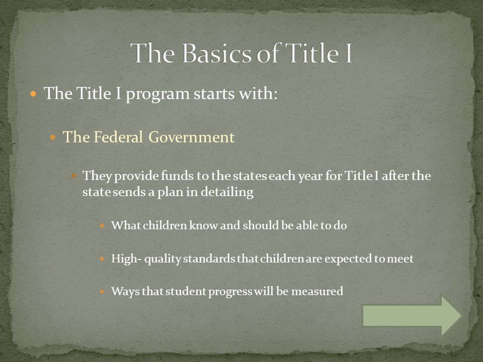 The Title I program starts with: The Federal Government They provide funds to the states each year for Title I after the state sends a plan in detailing What children know and should be able to do High- quality standards that children are expected to meet Ways that student progress will be measured