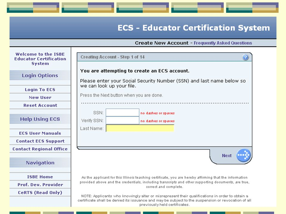 State of Illinois Teacher Certification, Recertification and ECS ...