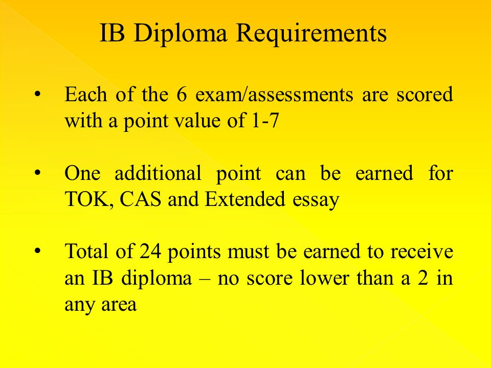 IB Diploma Requirements Each of the 6 exam/assessments are scored with a point value of 1-7 One additional point can be earned for TOK, CAS and Extended essay Total of 24 points must be earned to receive an IB diploma – no score lower than a 2 in any area