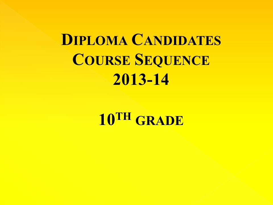 D IPLOMA C ANDIDATES C OURSE S EQUENCE TH GRADE
