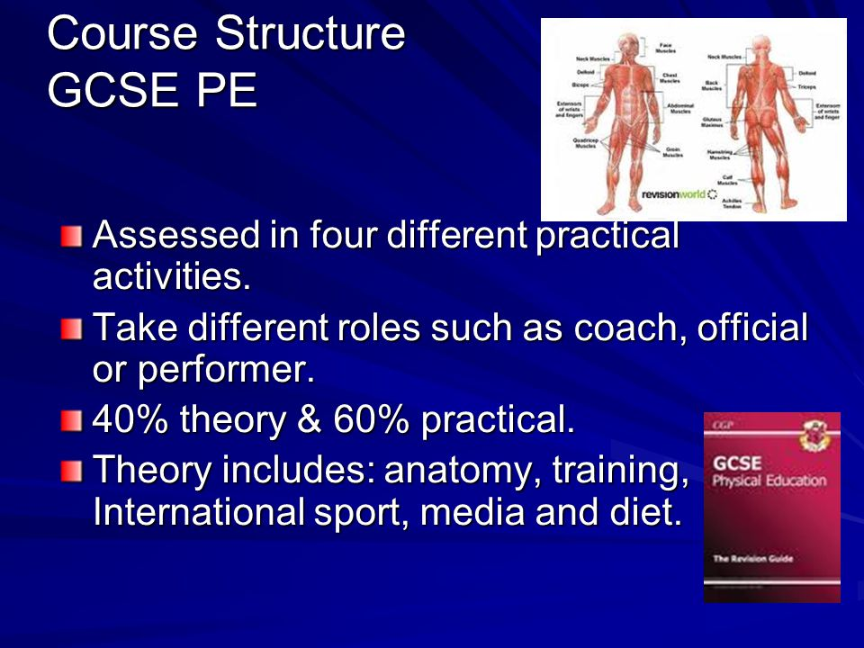 Course Structure GCSE PE Course Structure GCSE PE Assessed in four different practical activities.