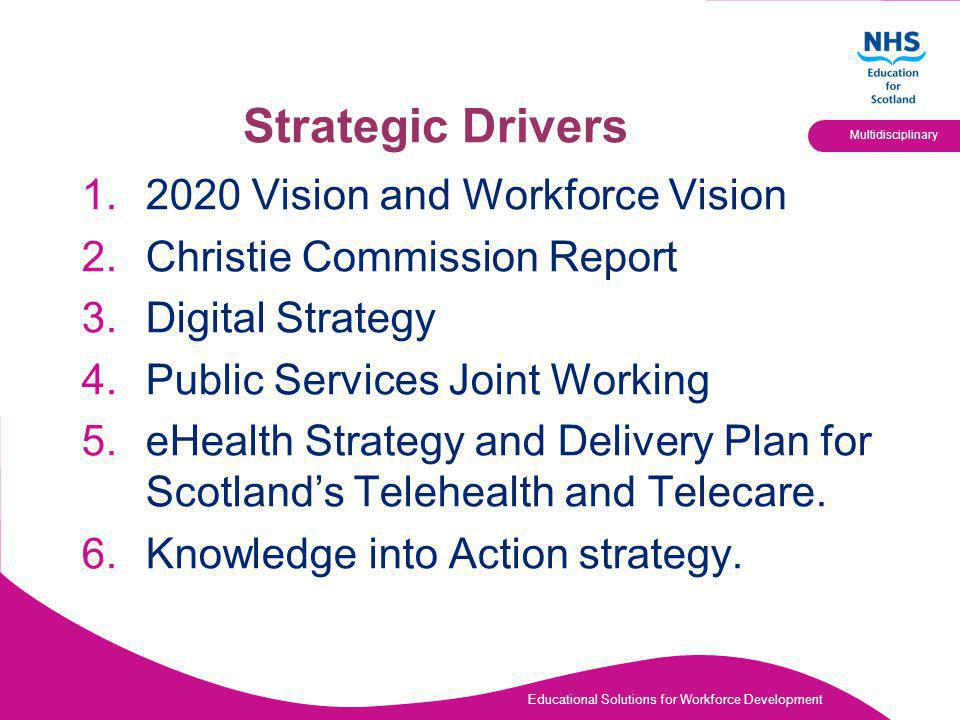 Educational Solutions for Workforce Development Multidisciplinary Strategic Drivers Vision and Workforce Vision 2.Christie Commission Report 3.Digital Strategy 4.Public Services Joint Working 5.eHealth Strategy and Delivery Plan for Scotland's Telehealth and Telecare.