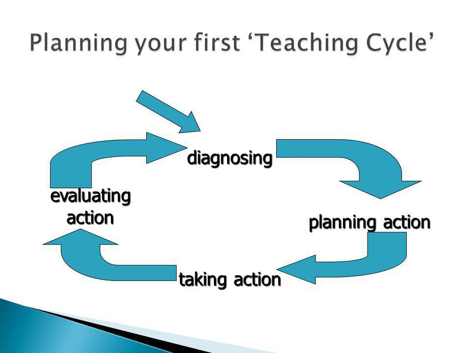 diagnosing evaluating action planning action taking action Content/ context/ purpose