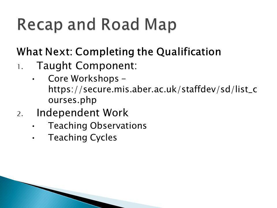 What Next: Completing the Qualification 1.