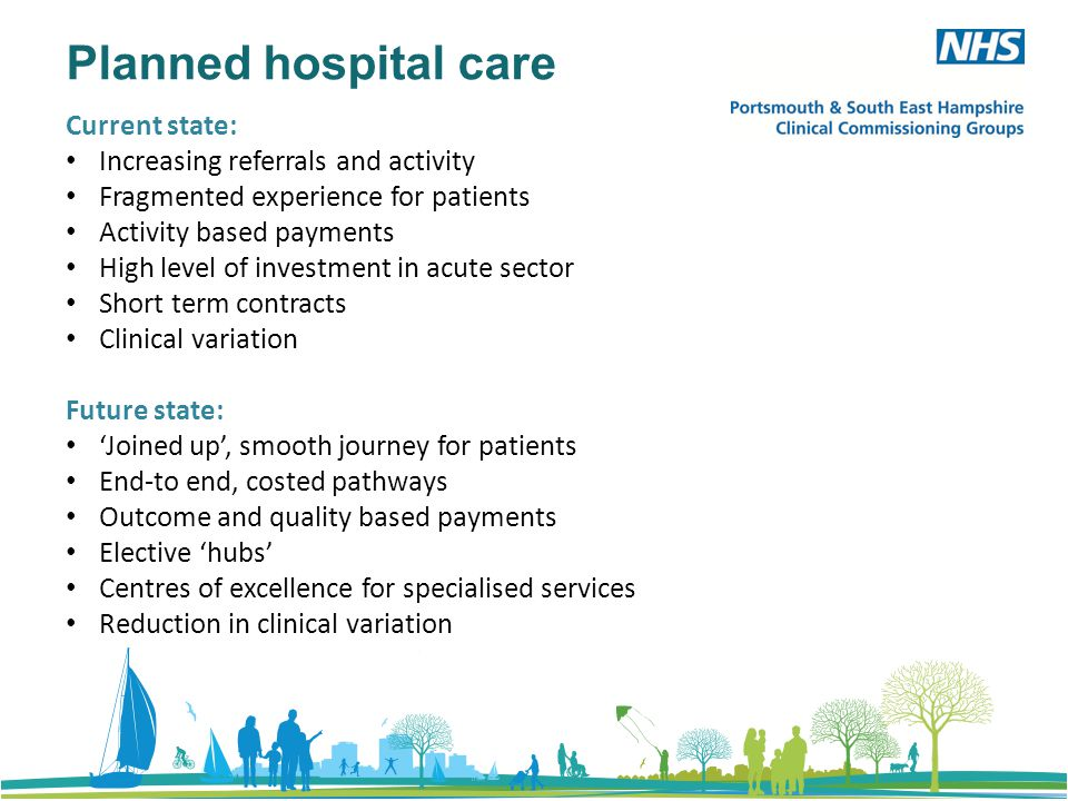 Planned hospital care Current state: Increasing referrals and activity Fragmented experience for patients Activity based payments High level of investment in acute sector Short term contracts Clinical variation Future state: 'Joined up', smooth journey for patients End-to end, costed pathways Outcome and quality based payments Elective 'hubs' Centres of excellence for specialised services Reduction in clinical variation