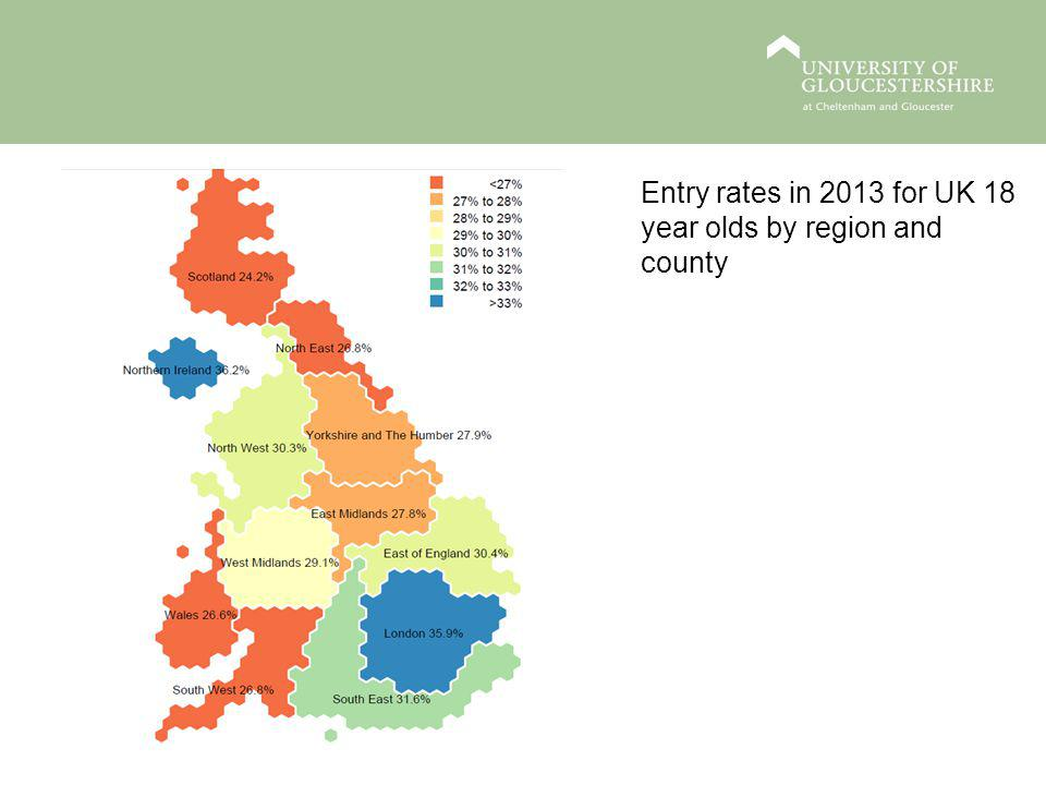 Entry rates in 2013 for UK 18 year olds by region and county