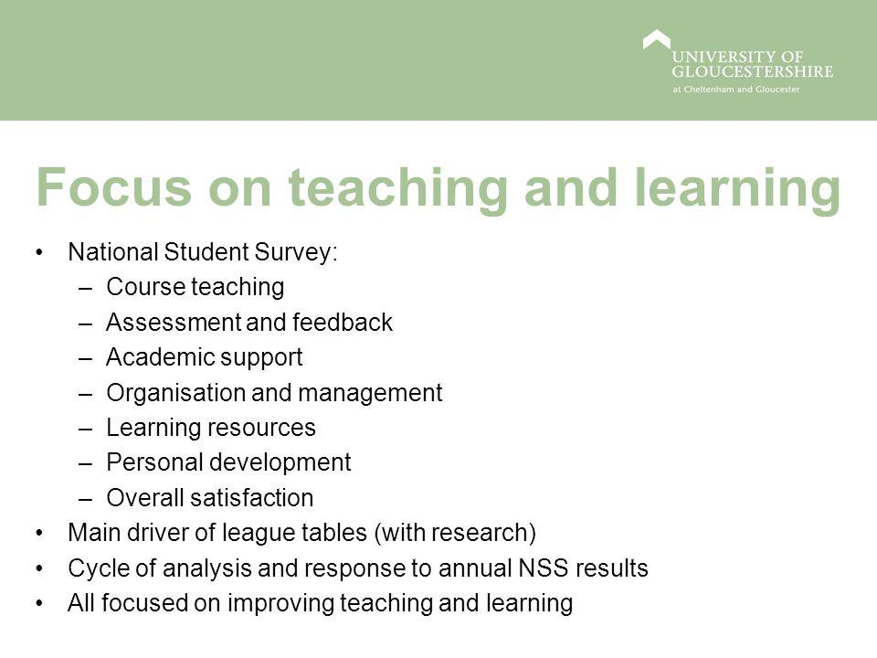 Focus on teaching and learning National Student Survey: –Course teaching –Assessment and feedback –Academic support –Organisation and management –Learning resources –Personal development –Overall satisfaction Main driver of league tables (with research) Cycle of analysis and response to annual NSS results All focused on improving teaching and learning