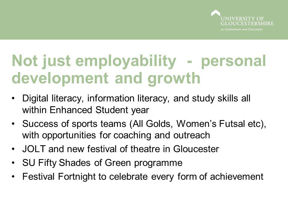Not just employability - personal development and growth Digital literacy, information literacy, and study skills all within Enhanced Student year Success of sports teams (All Golds, Women's Futsal etc), with opportunities for coaching and outreach JOLT and new festival of theatre in Gloucester SU Fifty Shades of Green programme Festival Fortnight to celebrate every form of achievement