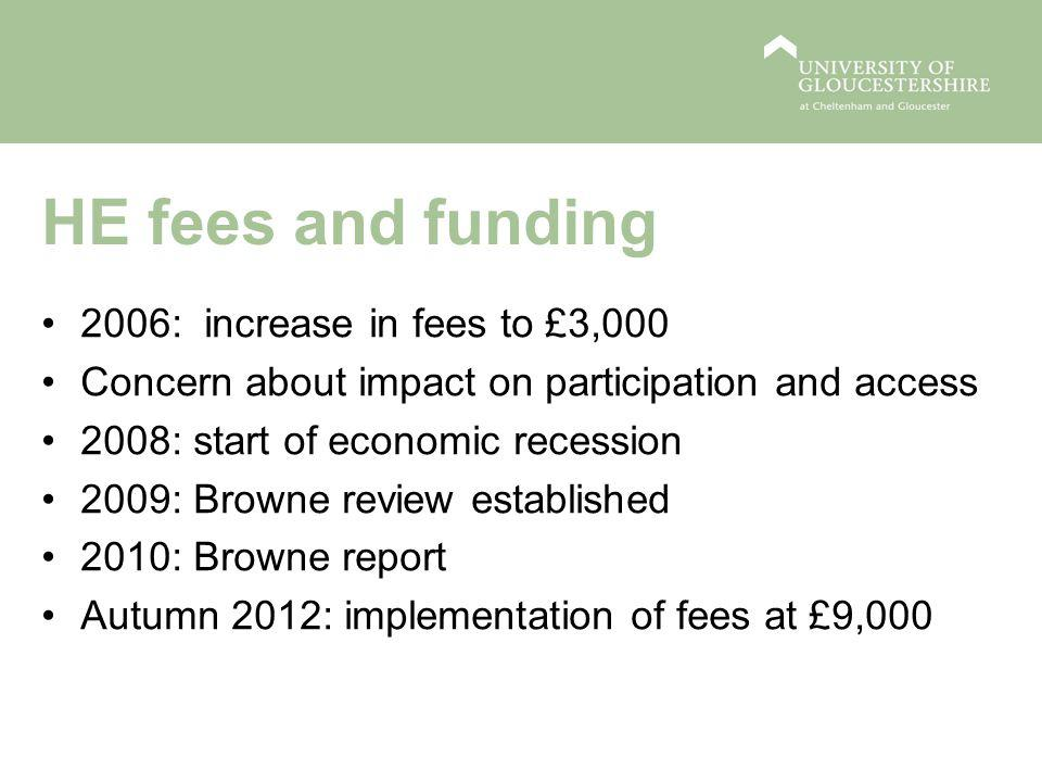 HE fees and funding 2006: increase in fees to £3,000 Concern about impact on participation and access 2008: start of economic recession 2009: Browne review established 2010: Browne report Autumn 2012: implementation of fees at £9,000